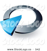 Vector Logo of a Pre-Made Logo of a Large Blue Arrow in a Silver Circular Dial, Above Space for a Business Name and Company Slogan by Beboy
