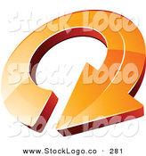 Vector Logo of a Pre-Made Logo of a Large Orange Circling Arrow, with Space for a Business Name and Company Slogan to the Right by Beboy