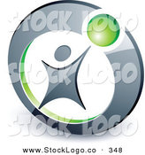 Vector Logo of a Pre-Made Logo of a Man Reaching up to a Green Ball in a Circle, Above Space for a Business Name and Company Slogan by Beboy