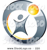 Vector Logo of a Pre-Made Logo of a Man Reaching up to a Yellow Ball in a Circle, Above Space for a Business Name and Company Slogan by Beboy