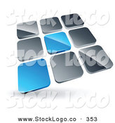 Vector Logo of a Pre-Made Logo of a Pair of Blue Tiles Standing out from Rows of Silver Tiles by Beboy