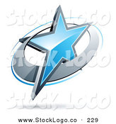 Vector Logo of a Pre-Made Logo of a Shiny Blue Star in a Chrome Circle, Above Space for a Business Name and Company Slogan by Beboy