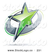 Vector Logo of a Pre-Made Logo of a Shiny Green Star in a Chrome Circle, Above Space for a Business Name and Company Slogan by Beboy