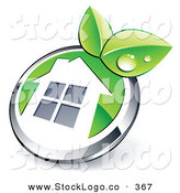 Vector Logo of a Pre-Made Logo of a Shiny Round Chrome and Green House Button with Leaves by Beboy