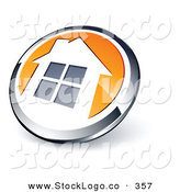 Vector Logo of a Pre-Made Logo of a Shiny Round Chrome and Orange Home Button on White by Beboy