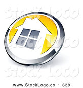 Vector Logo of a Pre-Made Logo of a Shiny Round Chrome and Yellow House Button by Beboy