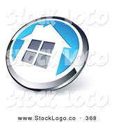 Vector Logo of a Pre-Made Logo of a Shiny Round Silver and Blue Home Button by Beboy