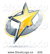 Vector Logo of a Pre-Made Logo of a Shiny Yellow Star in a Chrome Circle, Above Space for a Business Name and Company Slogan by Beboy