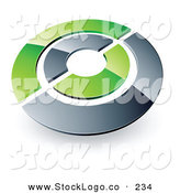 Vector Logo of a Pre-Made Logo of a Silver and Green Target or Circles Above Space for a Business Name and Company Slogan by Beboy