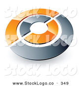 Vector Logo of a Pre-Made Logo of a Silver and Orange Target or Circles Above Space for a Business Name and Company Slogan by Beboy
