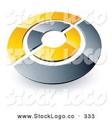 Vector Logo of a Pre-Made Logo of a Silver and Yellow Target or Circles Above Space for a Business Name and Company Slogan by Beboy