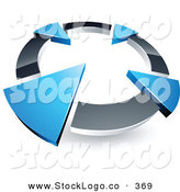 Vector Logo of a Pre-Made Logo of a Silver Circle with Four Blue Arrows Pointing Inwards by Beboy