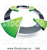 Vector Logo of a Pre-Made Logo of a Silver Circle with Four Green Arrows Pointing Inwards by Beboy