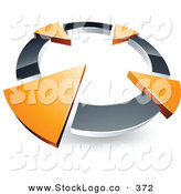 Vector Logo of a Pre-Made Logo of a Silver Circle with Four Orange Arrows Pointing Inwards by Beboy