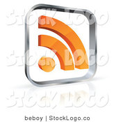 Vector Logo of a Pre-Made Logo of a Silver Square with an Orange RSS Symbol to the Left of Space for a Business Name and Company Slogan by Beboy