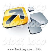 Vector Logo of a Pre-Made Logo of a Single Arrow on a Yellow Box near Orange Squares by Beboy