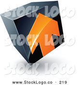 Vector Logo of a Pre-Made Logo of a Single Orange Arrow on a Tilted Black Cube, Above Space for a Business Name and Company Slogan by Beboy