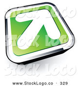 Vector Logo of a Pre-Made Logo of a White Arrow on a Green and Chrome Rounded Square Button by Beboy