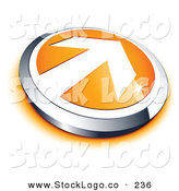 Vector Logo of a Pre-Made Logo of a White Arrow on an Orange and Silver Button, with Space for a Business Name and Company Slogan Below by Beboy