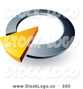 Vector Logo of a Pre-Made Logo of a Yellow Arrow in a Chrome Circular Dial, Above Space for a Business Name and Company Slogan by Beboy