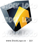 Vector Logo of a Pre-Made Logo of a Yellow Arrow on a Tilted Black Cube, Above Space for a Business Name and Company Slogan on White by Beboy