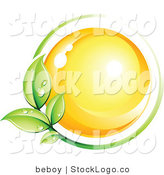 Vector Logo of a Pre-Made Logo of a Yellow Orb Circled by a Green Vine with Dew Drops Above a Space for a Business Name and Company Slogan by Beboy