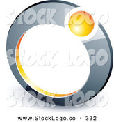 Vector Logo of a Pre-Made Logo of a Yellow Orb in a Chrome Ring, Above Space for a Business Name and Company Slogan by Beboy
