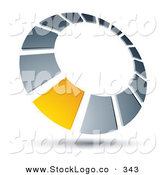 Vector Logo of a Pre-Made Logo of a Yellow Square in a Silver Dial, Above Space for a Business Name and Company Slogan by Beboy