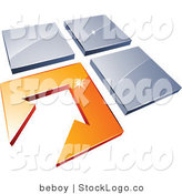Vector Logo of a Pre-Made Logo of an Arrow in an Orange Flooring Tile, Beside Three Blue Tiles, to the Left of Space for a Business Name and Company Slogan on White by Beboy