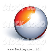 Vector Logo of a Pre-Made Logo of an Orange and Chrome Orb Above Space for a Business Name and Slogan, on a White Background by Beboy