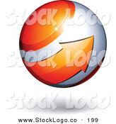Vector Logo of a Pre-Made Logo of an Orange Arrow Circling an Orb Above Space for a Business Name and Slogan, over a White Background by Beboy