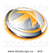 Vector Logo of a Pre-Made Logo of an Orange Arrow on a Silver Button, with Space for a Business Name and Company Slogan Below by Beboy