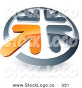 Vector Logo of a Pre-Made Logo of an Orange Arrow Standing out in a Circle of Chrome Arrows, Above Space for a Business Name and Company Slogan on White by Beboy