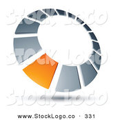 Vector Logo of a Pre-Made Logo of an Orange Rectangly in a Chrome Dial, Above Space for a Business Name and Company Slogan by Beboy
