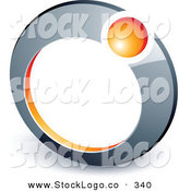 Vector Logo of a Pre-Made Logo of an Orange Sphere in a Chrome Ring, Above Space for a Business Name and Company Slogan by Beboy