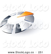 Vector Logo of a Pre-Made Logo of an Orange Triangle Pointing Inwards in a Circle of Chrome Squares, with Space for a Business Name and Company Slogan Below by Beboy