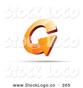 Vector Logo of a Pre-Made Logo of an Round Orange Circling Arrow, with Space for a Business Name and Company Slogan Below by Beboy