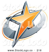 Vector Logo of a Pre-Made Logo of an Shiny Orange Star in a Chrome Circle, Above Space for a Business Name and Company Slogan by Beboy