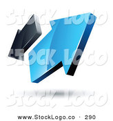 Vector Logo of a Pre-Made Logo of Blue and Gray 3d Arrows Going in Opposite Directions by Beboy