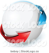 Vector Logo of a Pre-Made Logo of Blue and Red Arrows Around on a White Orb, with Space for a Business Name and Company Slogan by Beboy