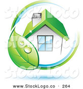 Vector Logo of a Pre-Made Logo of Dewy Green Leaf Circling a House with a Green Roof, with Space for a Business Name and Company Slogan Below by Beboy