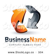 Vector Logo of a Pre-Made Logo of Gray and Orange Circling Arrows with Room for a Business Logo by Beboy