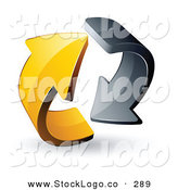 Vector Logo of a Pre-Made Logo of Gray and Yellow Rotating Circling Arrows by Beboy