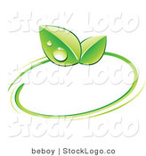 Vector Logo of a Pre-Made Logo of Green Leaves with Dew Drops and a Circle Around a Space for a Business Name and Company Slogan by Beboy