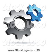 Vector Logo of a Pre-Made Logo of Interlocking Silver and Blue Gear Cog Wheels by Beboy