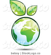 Vector Logo of a Pre-Made Logo of Leaves Sprouting from the Top of a Globe, to the Left of a Space for a Business Name and Company Slogan by Beboy