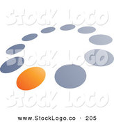 Vector Logo of a Pre-Made Logo of One Orange Circle in a Ring of Blue and Gray Dots, Above Space for a Business Name and Company Slogan by Beboy