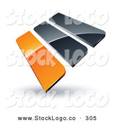 Vector Logo of a Pre-Made Logo of Orange and Gray Bars, on White by Beboy