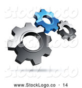 Vector Logo of a Pre-Made Logo of Silver and Blue Gears on White by Beboy