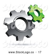 Vector Logo of a Pre-Made Logo of Silver and Green Interlocking Gear Cog Wheels by Beboy